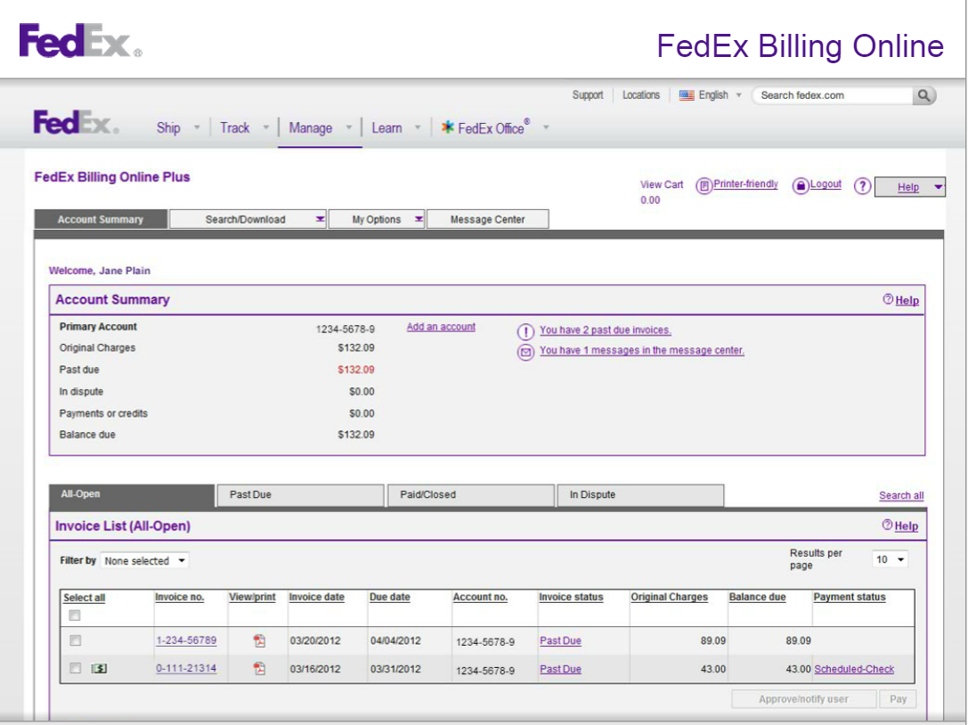 FedEx Invoice Management Financial Services Office The - Fedex proforma invoice template for service business
